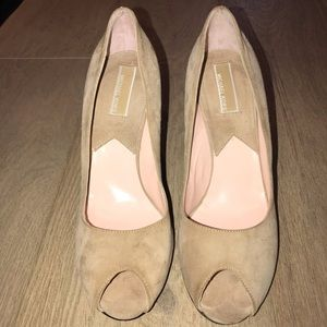 Michael KORS Tan Suede Peep Toe Pump 8